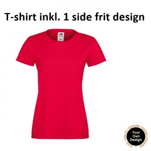 Ladies T-shirt inkl. 1 side frit design-Red-20